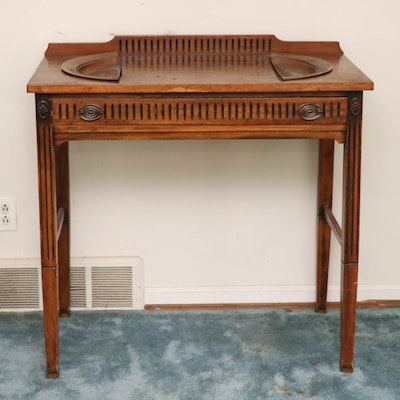 Hepplewhite Style Carved Wood Table with Divided Copper Basins, 20th Century