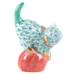 """Herend Green Fishnet with Gold """"Mischievous Cat"""" Porcelain Figurine"""
