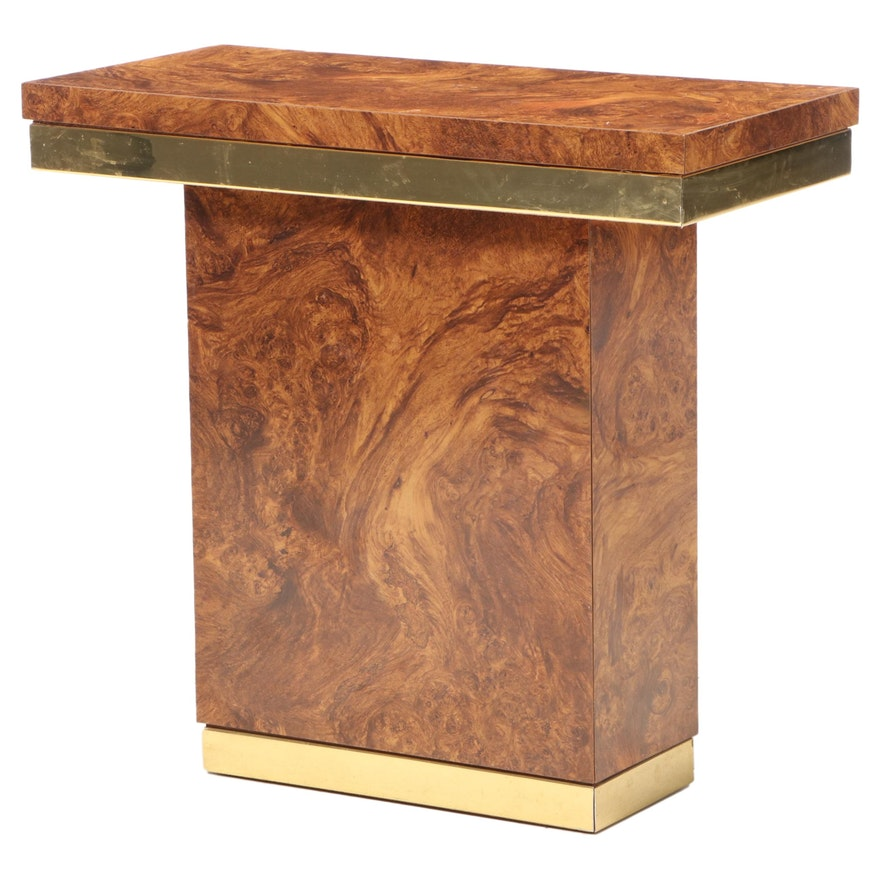 Modernist Brass-Mounted and Burlwood-Grained Laminate Console Table