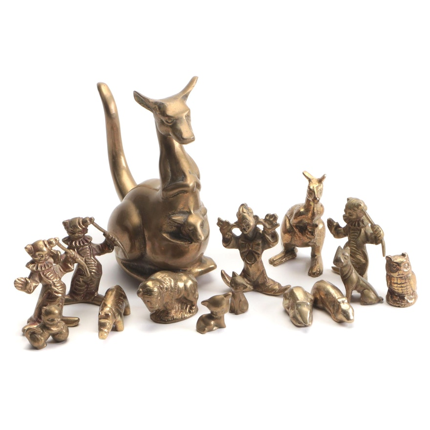 Brass Clown and Animal Figurines Including Kangaroos and Owl