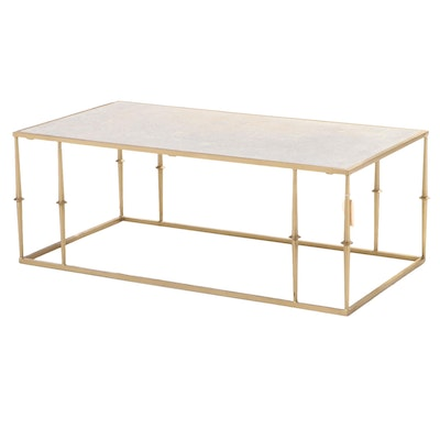 """Blue Ocean Traders """"Glam"""" Modernist Style Gilt Metal and Marble Top Coffee Table"""
