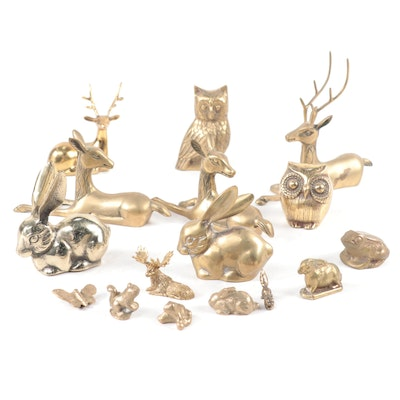Great City Traders Rabbit Figurine with Other Brass Woodland Animals