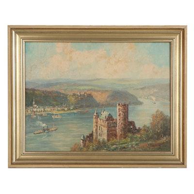 "Landscape Oil Painting ""Burg Katz, St. Goar,"" Early 20th Century"