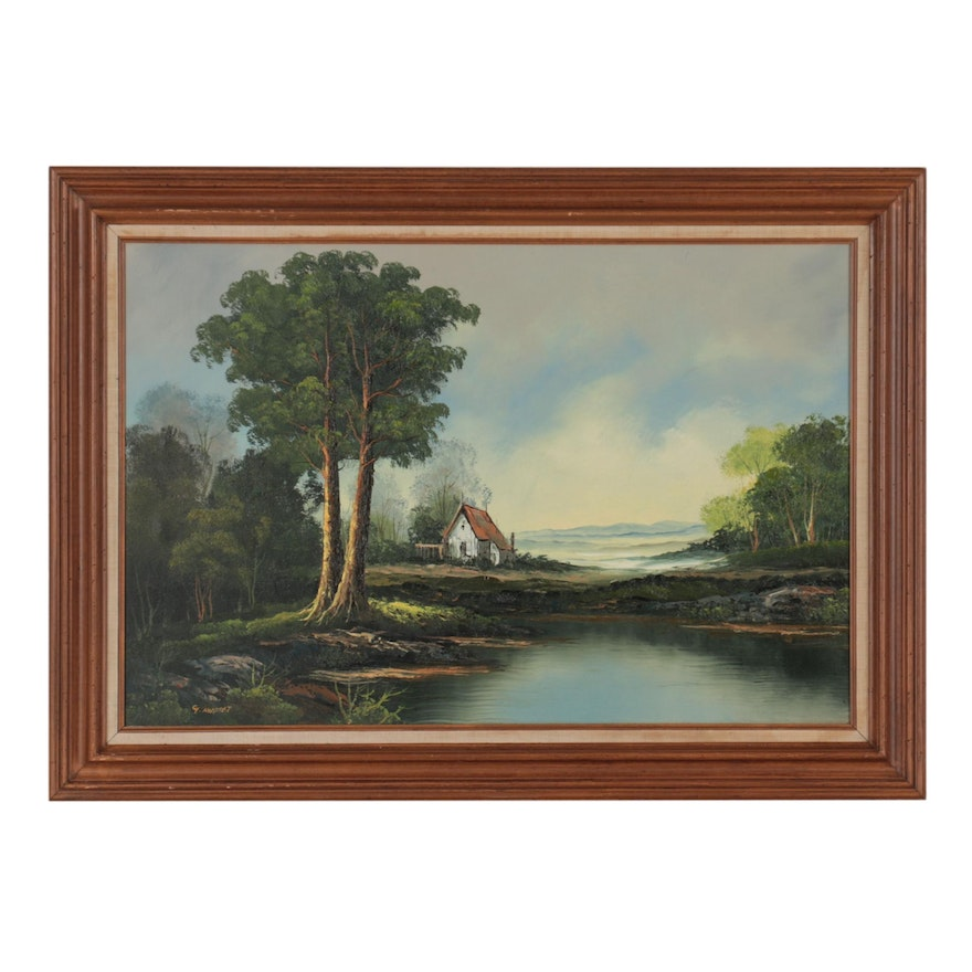 Rural Landscape Oil Painting, Late 20th Century