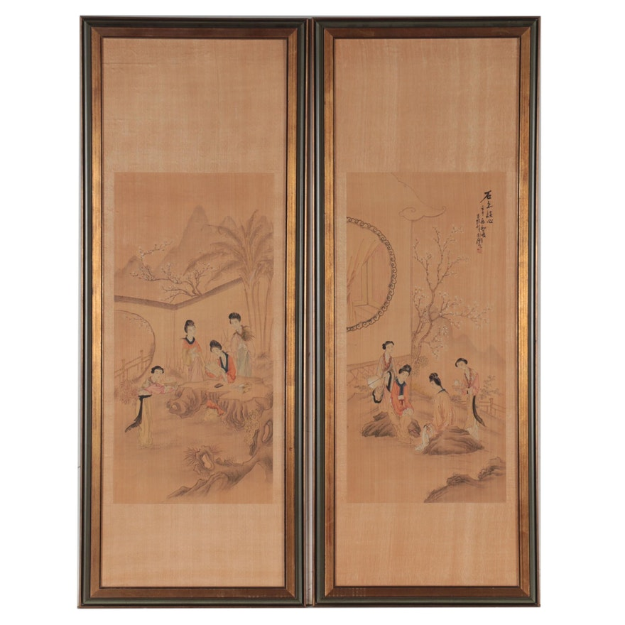 Chinese Ming Style Figural Watercolor Paintings