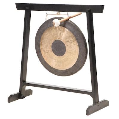 Chinese Bronze Chau Gong on Ebonized Wood Stand
