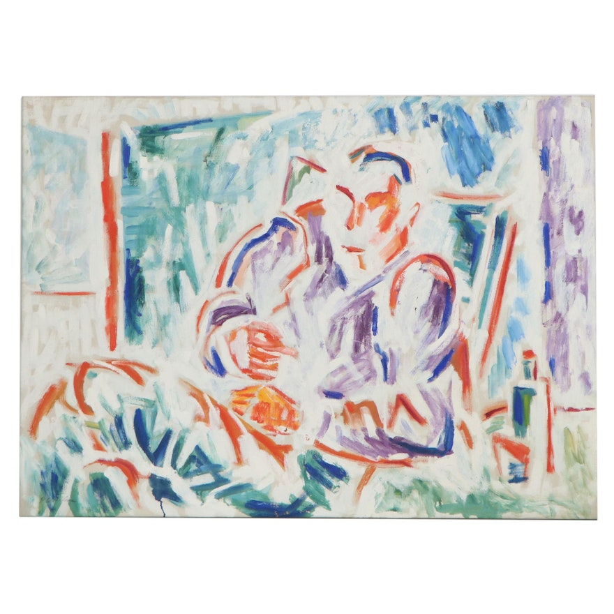 Abstract Oil Painting of a Seated Man, Mid-20th Century