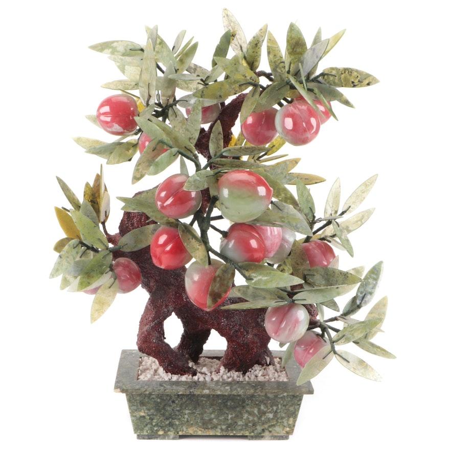 Chinese Carved Serpentine Bonsai Peach Tree