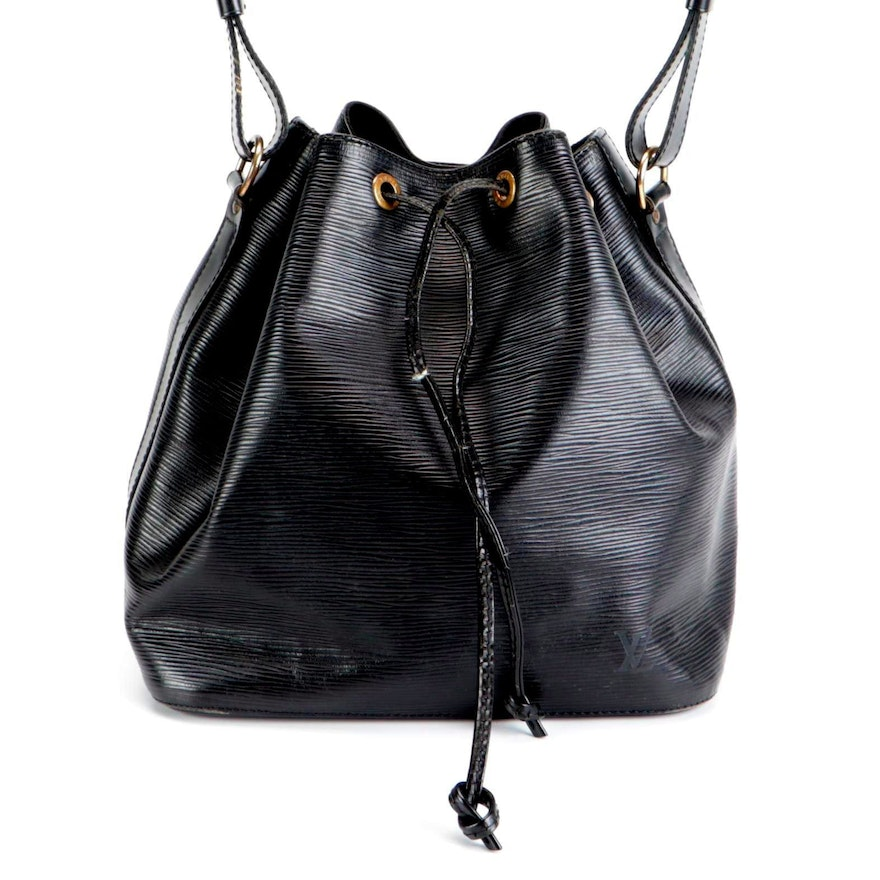 Louis Vuitton Petit Noé Drawstring Bucket Bag in Black Epi and Smooth Leather