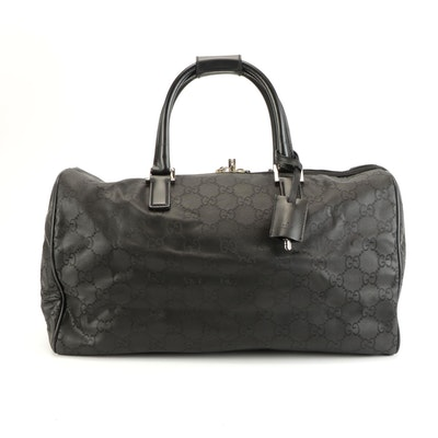 Gucci Carry All in Black GG Monogram Nylon and Smooth Leather Trim