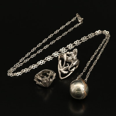 Sterling Figural Dolphin, Frog and Lily Pad Rings and Pendant Necklace