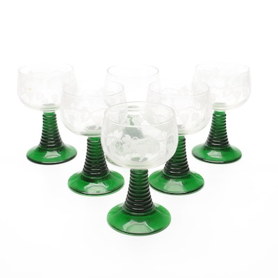 German Etched Grape Vine Roemer Wine Glasses, Mid to Late 20th Century