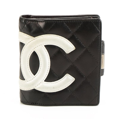 Chanel Ligne Cambon Compact Wallet in Black Quilted Lambskin with White CC Logo
