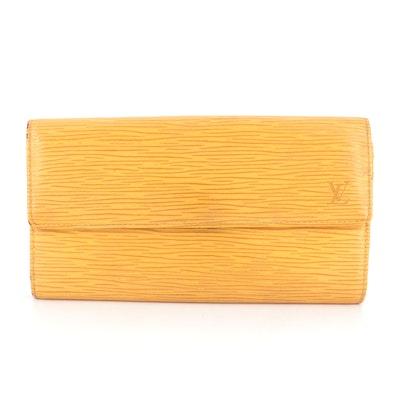 Louis Vuitton Porte-Monnaie Crédit Wallet in Yellow Tassel Epi Leather