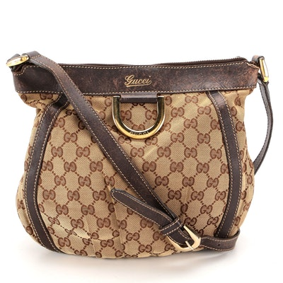 Gucci Abbey D-Ring Crossbody Bag in GG Canvas and Brown Leather