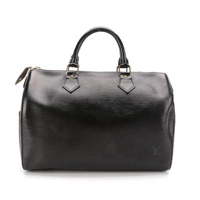 Louis Vuitton Speedy 30 Handbag in Black Epi Leather
