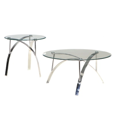 Modernist Style Chrome and Glass Top Coffee Table and Side Table