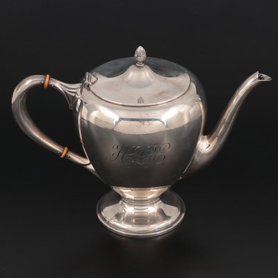 M. Fred Hirsch Sterling Silver Teapot, Early to Mid 20th Century