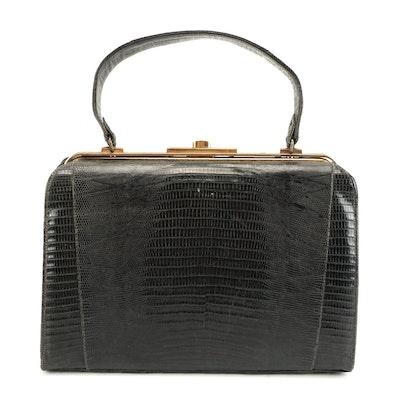 Black Lizard Skin Frame Handbag