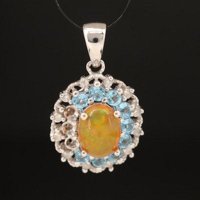 Sterling Opal, Topaz and Diamond Pendant