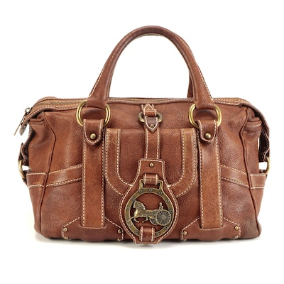 Celine Horse Carriage Buckle Bag in Brown Grained Leather