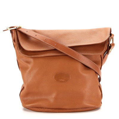 Longchamp Flap Front Crossbody Bag in Brown Leather