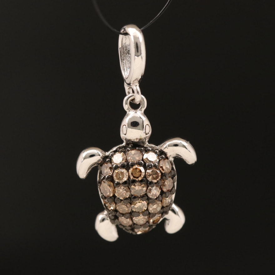 Sterling Diamond Turtle Pendant