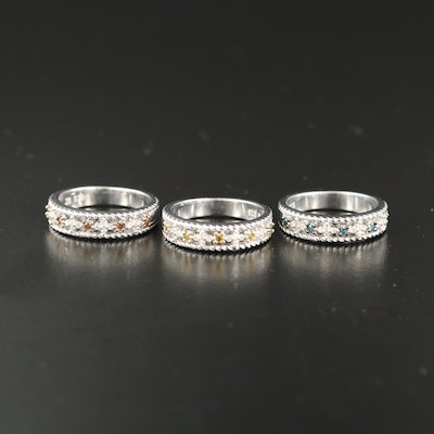 Sterling Silver Diamond Stackable Openwork Bands