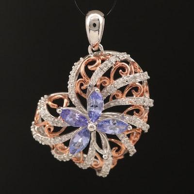Sterling Tanzanite and Diamond Heart Pendant