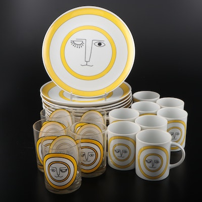 Taste Setter Collection Winking Lion Dinner Plates with Tumblers and Mugs
