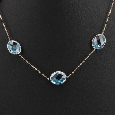 14K Swiss Blue Topaz Station Necklace