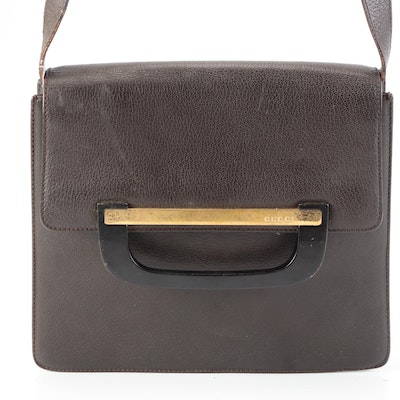 Gucci Flap Front Shoulder Bag in Brown Leather with Wood Handle Accent