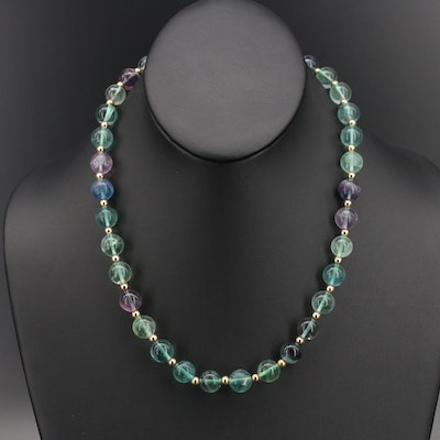 Beaded Fluorite Necklace with Sterling Clasp and Accent Beads