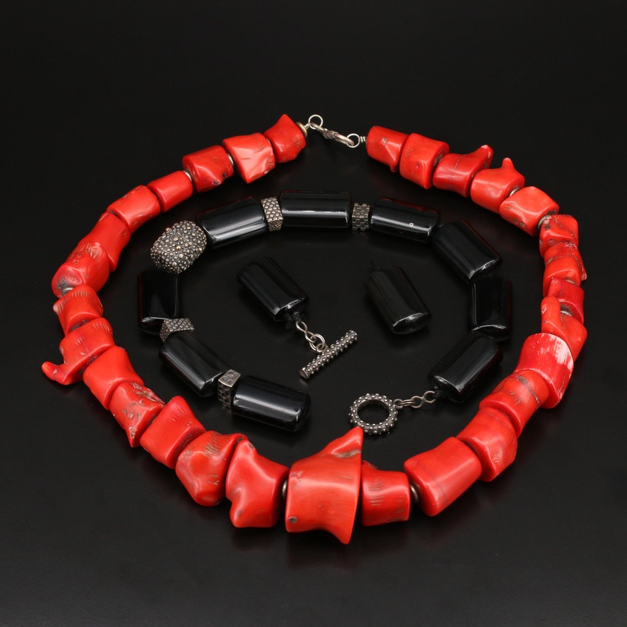 Black Onyx and Coral Bead Necklaces with Sterling Clasp