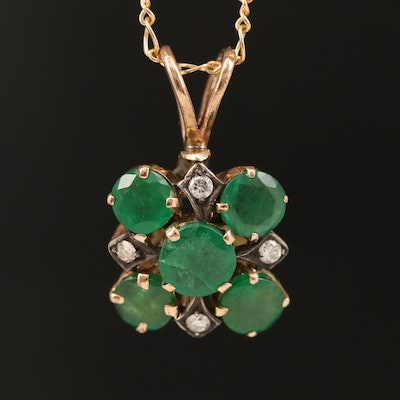 14K Emerald and Diamond Pendant Necklace with Sterling Accents