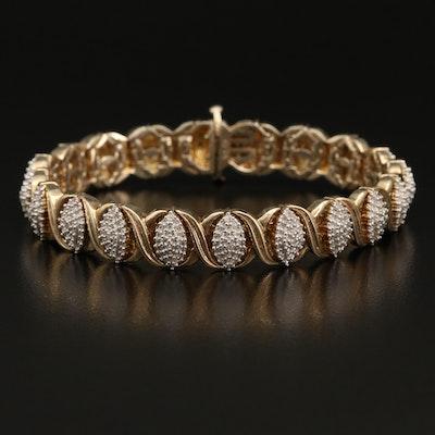 Sterling Silver Criss Cross Diamond Bracelet