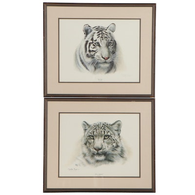 """Charles Fracé Offset Lithographs """"Snow Leopard"""" and """"White Tiger"""""""