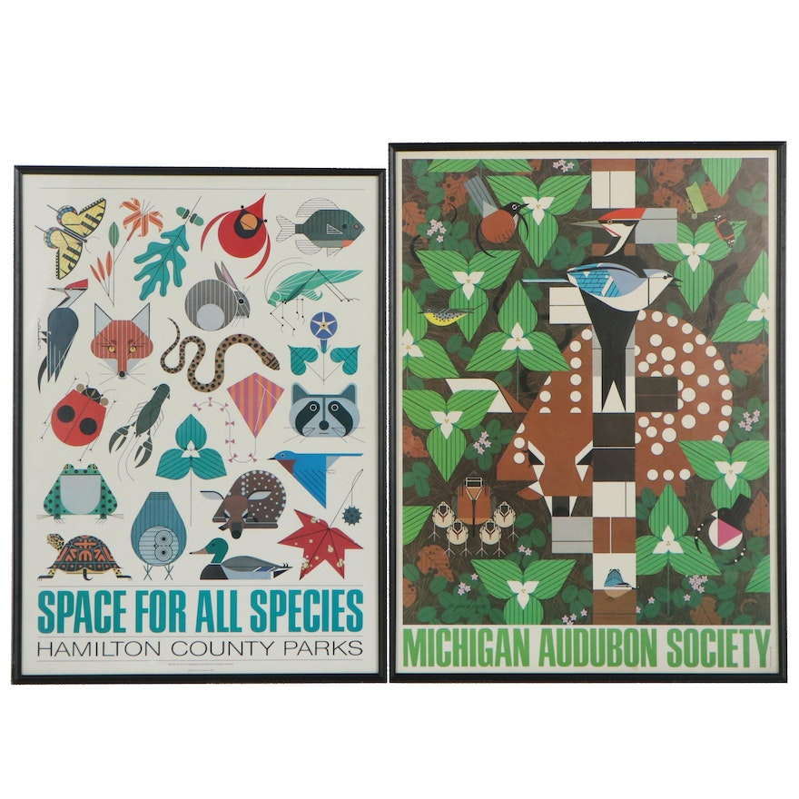 Charley Harper Offset Lithograph Environmental Posters, Late 20th Century