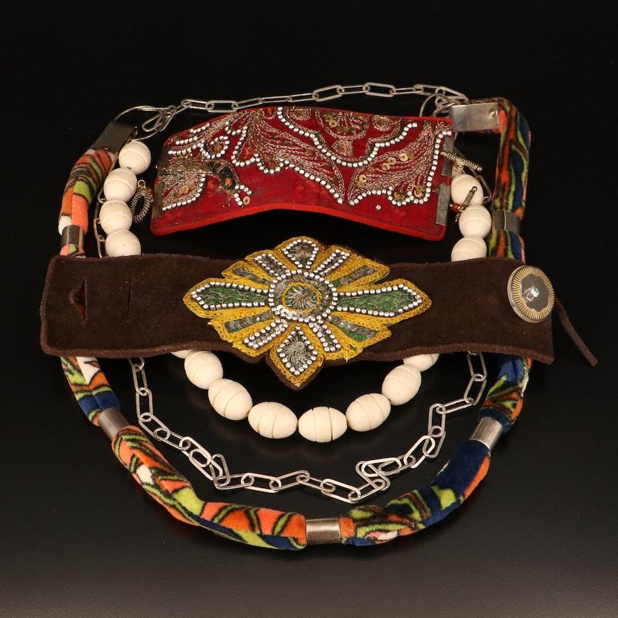 Necklace and Bracelets with Vintage Applique Components