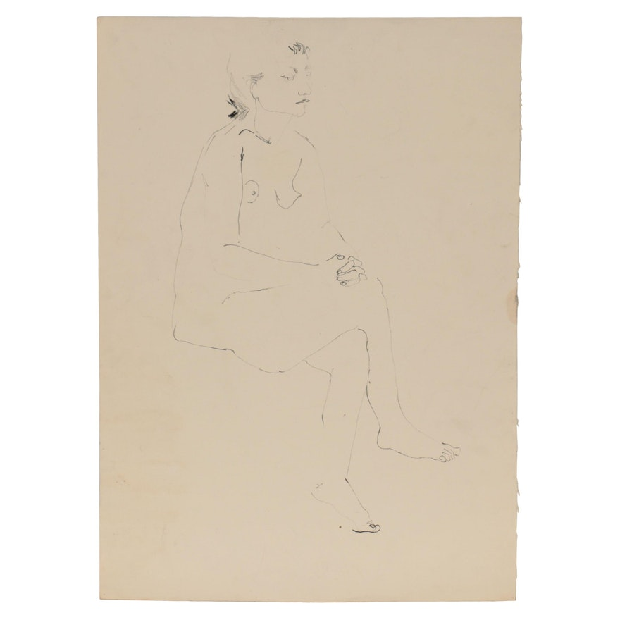 John Tuska Figural Ink Drawing of Seated Female Nude, Late 20th Century