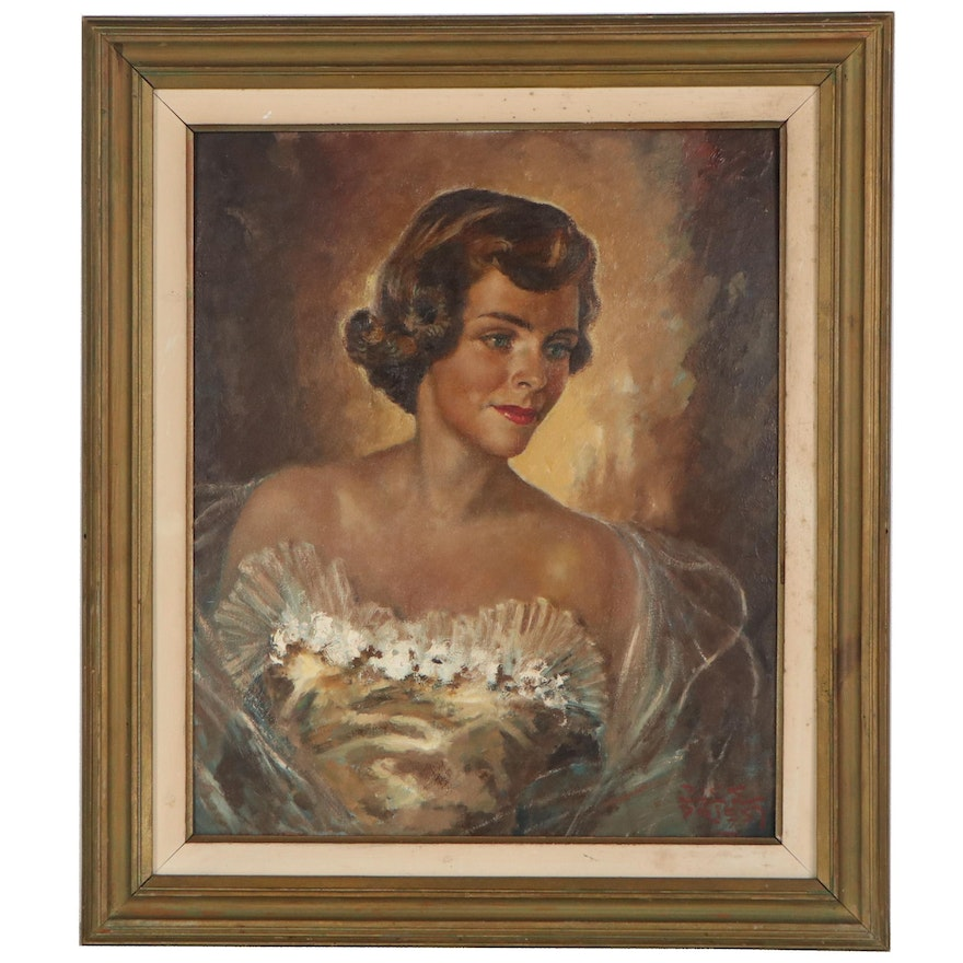 Portrait Oil Painting of Woman in Tulle Dress, Mid-20th Century