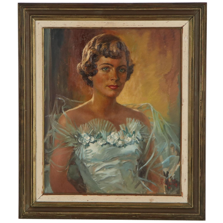 Portrait Oil Painting of Woman in White, Mid-20th Century