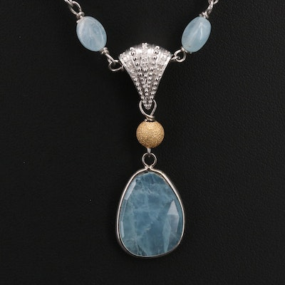 Sterling Aquamarine and Diamond Necklace
