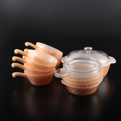 """Fire King """"Peach Luster"""" Casserole, French Casseroles and Bowls"""