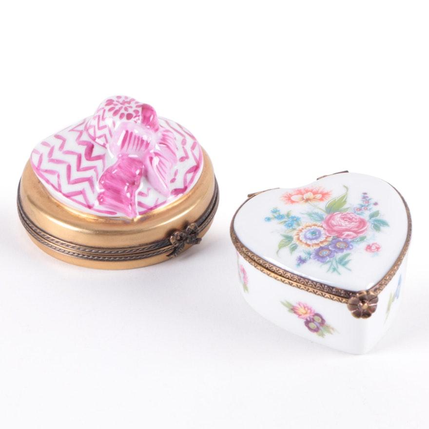 La Gloriette Hand-Painted Limoges Heart Form Porcelain Box and Other Limoges Box