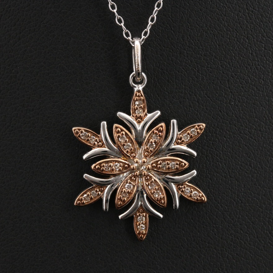 Sterling Snowflake Diamond Pendant Necklace