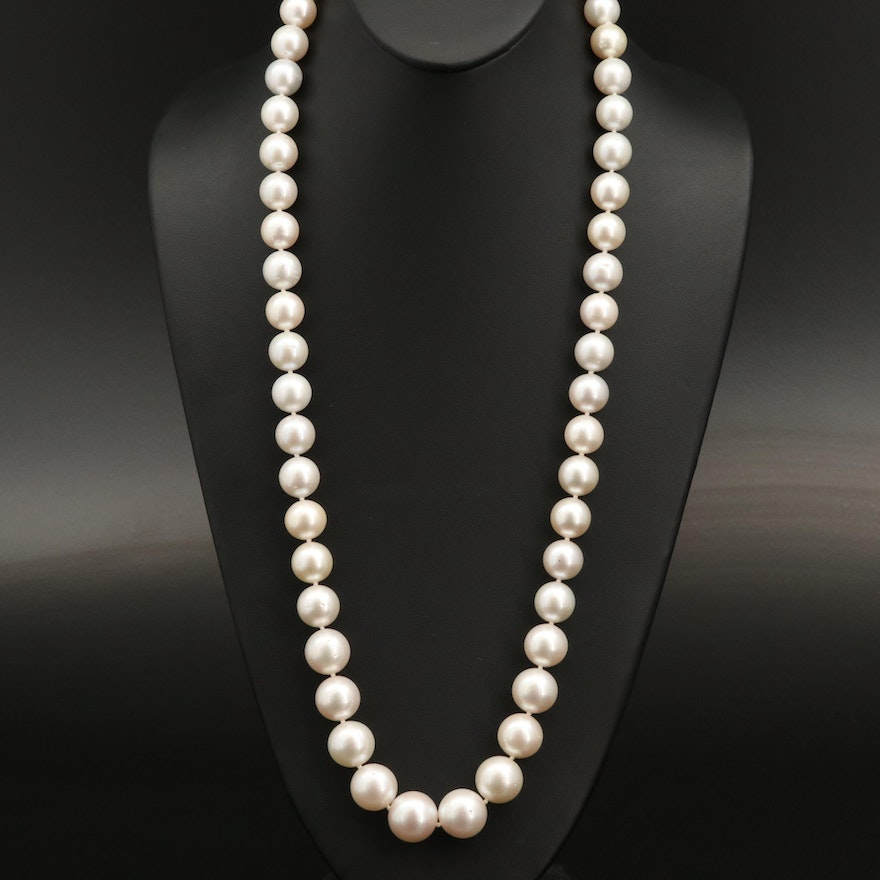 10.79 MM - 17.14 MM South Sea Graduated Pearl Necklace with GIA Report