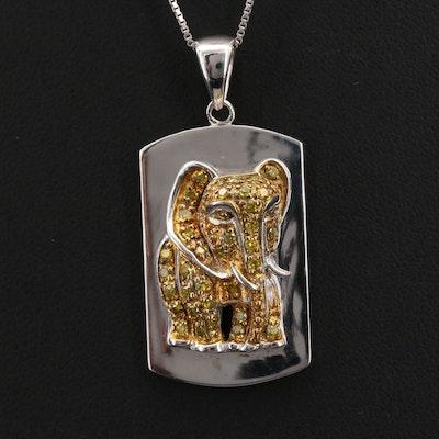 Sterling Diamond Elephant Pendant Necklace