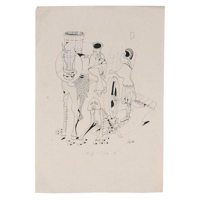 Eduardo Oliva Surrealist Style Ink Drawing, Late 20th Century