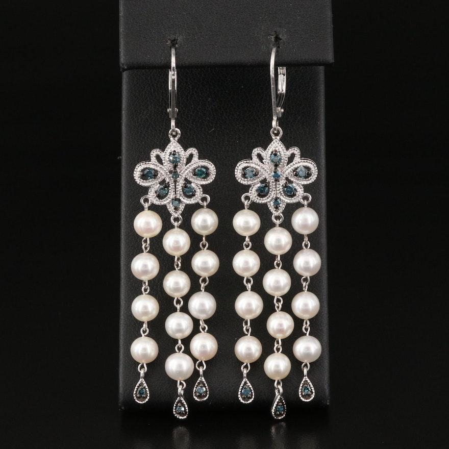 Sterling Silver Pearl and Diamond Fringe Earrings